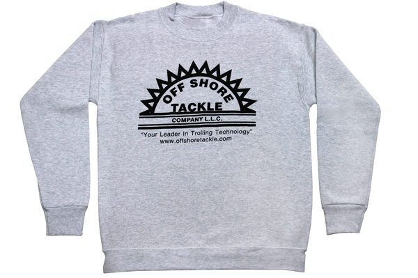Ash Long Sleeve Sweatshirt With Black Silkscreen Logo, 50/50 Blend